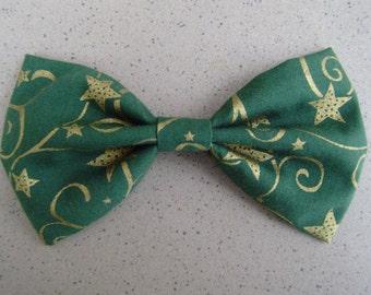 Green bowtie with gold print, New Year bowtie,Christmas Evergreen Bowtie, Green Bowtie, Christmas Bowtie, Child Bowtie, Sale Bowtie