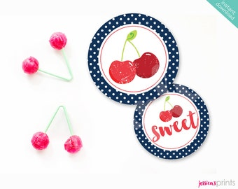Instant Download Sweet Cherry Printable Party Circles, Red Cherry Party Circles, Cherry Party Printable Favor Circles, Vintage Cherry