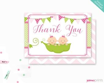Sweet Pea Girl Twins Printable Thank You, 4X6 Pea Pod Baby Thank You Note, Baby Shower Printable Thank You, Peapod Thank You Card