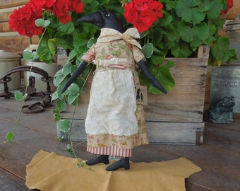Raven Crow Primitive Soft Sculpture Doll Floral Flower with or without doll stand