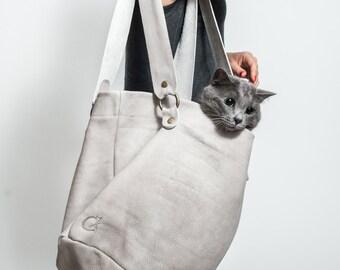 Off White Leather Tote Bag - Handmade Leather Bag - Shopping Bag - Shoulder Bags for Women - Large Tote Bag - Big Leather bag - Side Sack