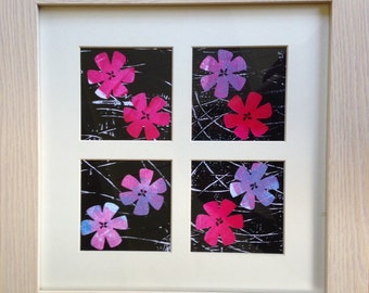 Four flowers artwork. Hand printed collage. Hand printed paper.