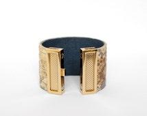 ON SALE! Handmade Snake Pattern Leather Bracelet 100% Repurposed Leather