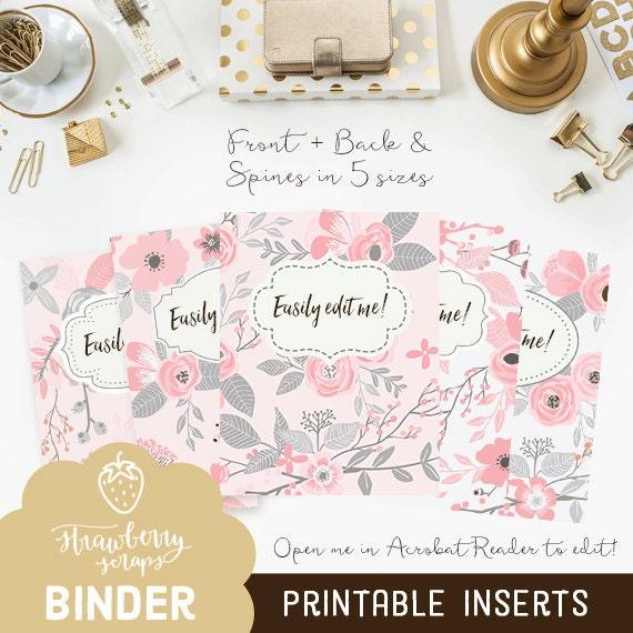 Pink Binder Cover Printable: PINK & GRAY FLOWERS