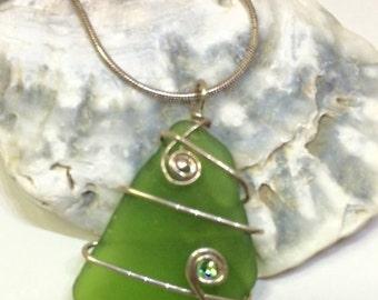 Chartreuse Green Sea Glass Pendant