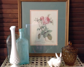 Rose Print Framed and Matted Cottage Chic Style Home Decor Pink Rose Print Gallery Wall Decorative Accent