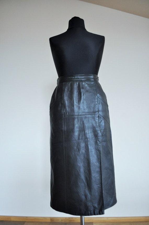 sale vintage leather skirt midi high waist black