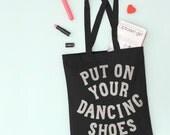 Black Canvas Tote Bag - Black Grocery Bag - Bag For Dancer - Party Tote Bag - Gifts For Dancers - Dancing Shoes Tote Bag - Alphabet Bags