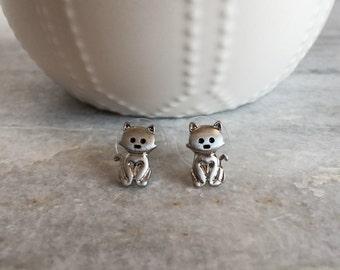 Cat Stud Earrings, Cat Earrings, Kitten Earrings, Tiny Cat Earrings, Cute Animal Earrings, Silver Stud Earrings