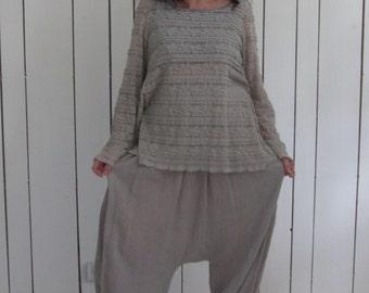 Magnifique sarouel gris en lin/coton bio et gaufré