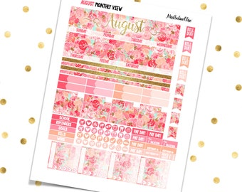 AUGUST MONTHLY VIEW Kit Floral // Printable Pdf Jpg - Erin Condren Scrapbooking Plum Paper Planner Filofax Inkwell Press Stickers Summer