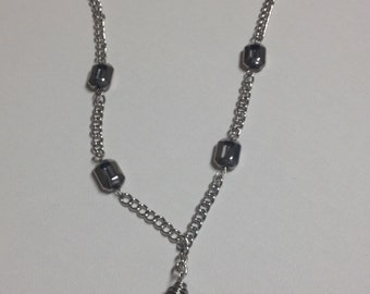 Blue Glass Crystal Pendant Necklace