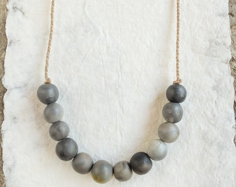unique smoked fired ceramic beads necklace, handmade