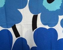 Marimekko printed fabric - blue poppy on white