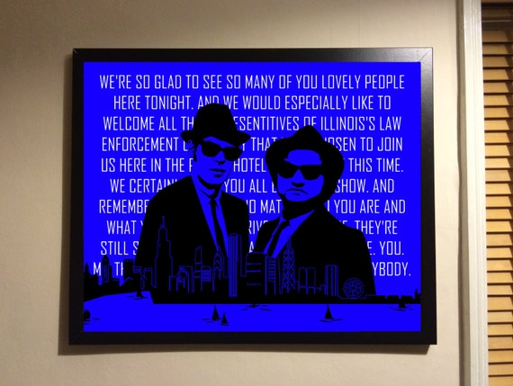 Blues Brothers Print Chicago City Outline With Quote