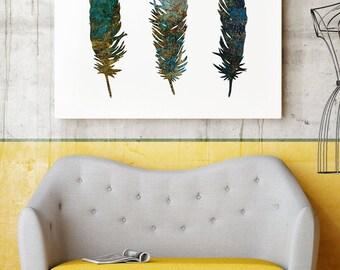 Bird Feathers Print -  Feather Art Poster - Wall Art  - Home Decor