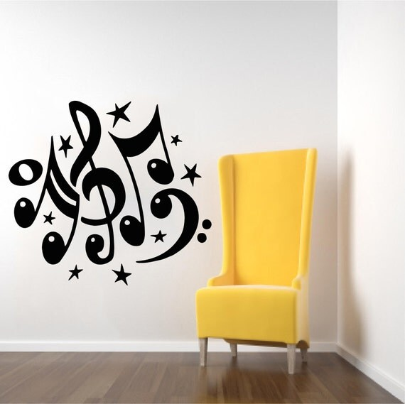 Wall Decal Musical Notes Waves Decals Music Note Recording