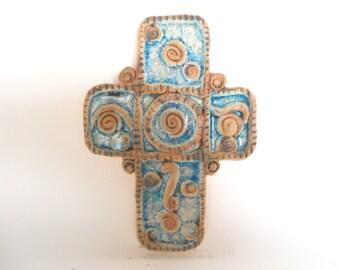 Ceramic cross, handmade cross, one of a kind cross, unique cross, Christian cross,