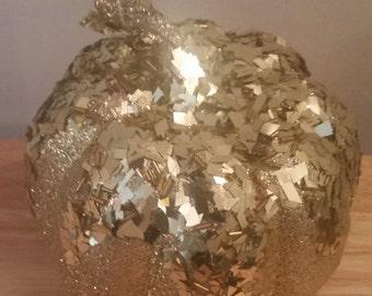 Gold Glitter Glistening Pumpkin