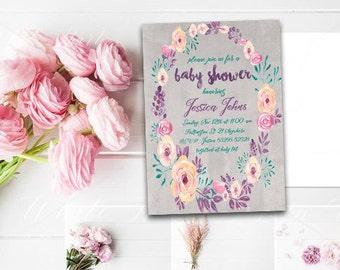 Floral Pastel Baby Shower Invitation Printable Floral Invitation Boho Pastel  Baby Shower Boho Baby Shower Digital