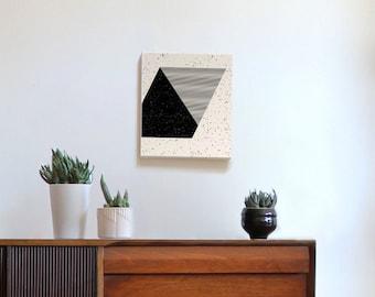Black and white art, abstract art, geometric art, modern wall art, triangle art, speckles, stripes, 80s, 90s, splatter, boys room