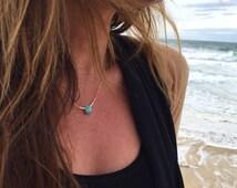 Amazonite drop Necklace with Miyuki Beads - Turquoise, Ivory and Orange colors - Boho Chic Jewelry