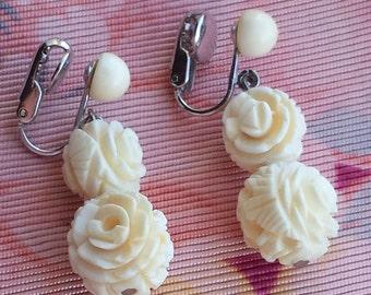 Vintage Carved Bone Roses Drop Earrings, Carved Bone Roses Clip Earrings