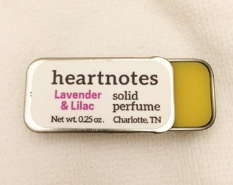 Heartnotes Solid Perfume - Beeswax, Jojoba Oil, and Fragrance Oils in a Portable Sliding Tin - Made by Hand with Natural Beeswax at Our Farm