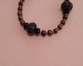 Cranberry Bronze Pearl Necklace