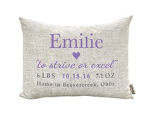 Baby Gift, Birth Announcement, Baby Pillow, Baby Shower Gift, Personalized Pillow, Birthday, New Parents, New Baby, Nursury Pillow