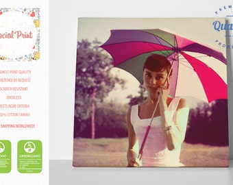 Audrey Hepburn with umbrella Canvas Print FREE SHIPPING, Style Icon fine art photo canvas print Artwork Giclee decor wall art home decor