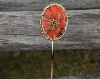 Vintage Orange Flower Pin 1960s