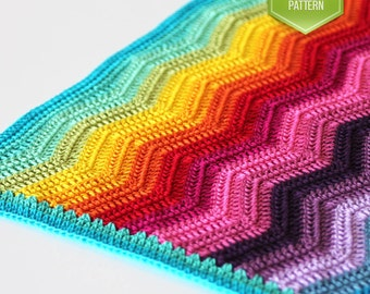 Crochet Rainbow Baby Blanket Pattern By Flavia : Rainbow ripple Etsy