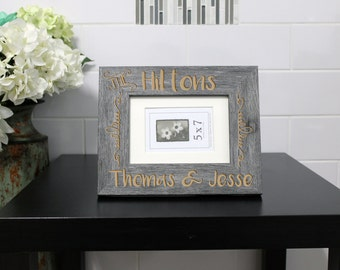Personalized Picture Frame, Custom Picture Frame, Personalized Photo Frame, Custom Photo Frame, Wedding Gifts --PF-GRY-Hiltons