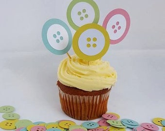 Button cupcake toppers baby shower decor pastel party decorations cupake toppers cute as a button gender reveal baby birthday 1st birthday