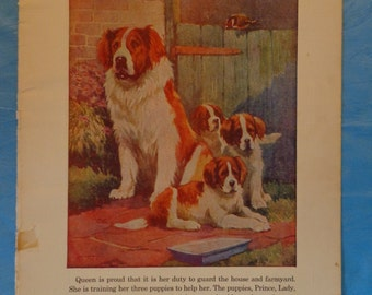 Vintage Children's Book Page ~ Saint Bernard ~ Momma Dog and Puppies ~ Frameable Book Page ~ Linen Look Print ~ 1930s ~ Artwork ~ Wall Decor