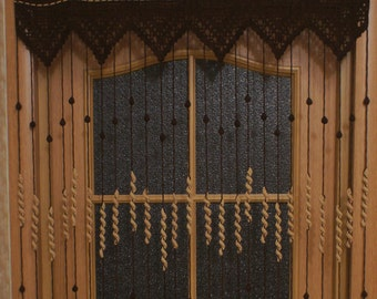 Crochet Door Curtain Chocolate, Door Beads, Crochet Curtain, Curtains With  Beads, Beaded