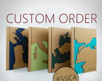 CUSTOM Map Travel Notebook, Personalized Gift, Maps, Unique Journal, Travel Journal, Custom Journal, Custom Notebook, Custom Name Notebook