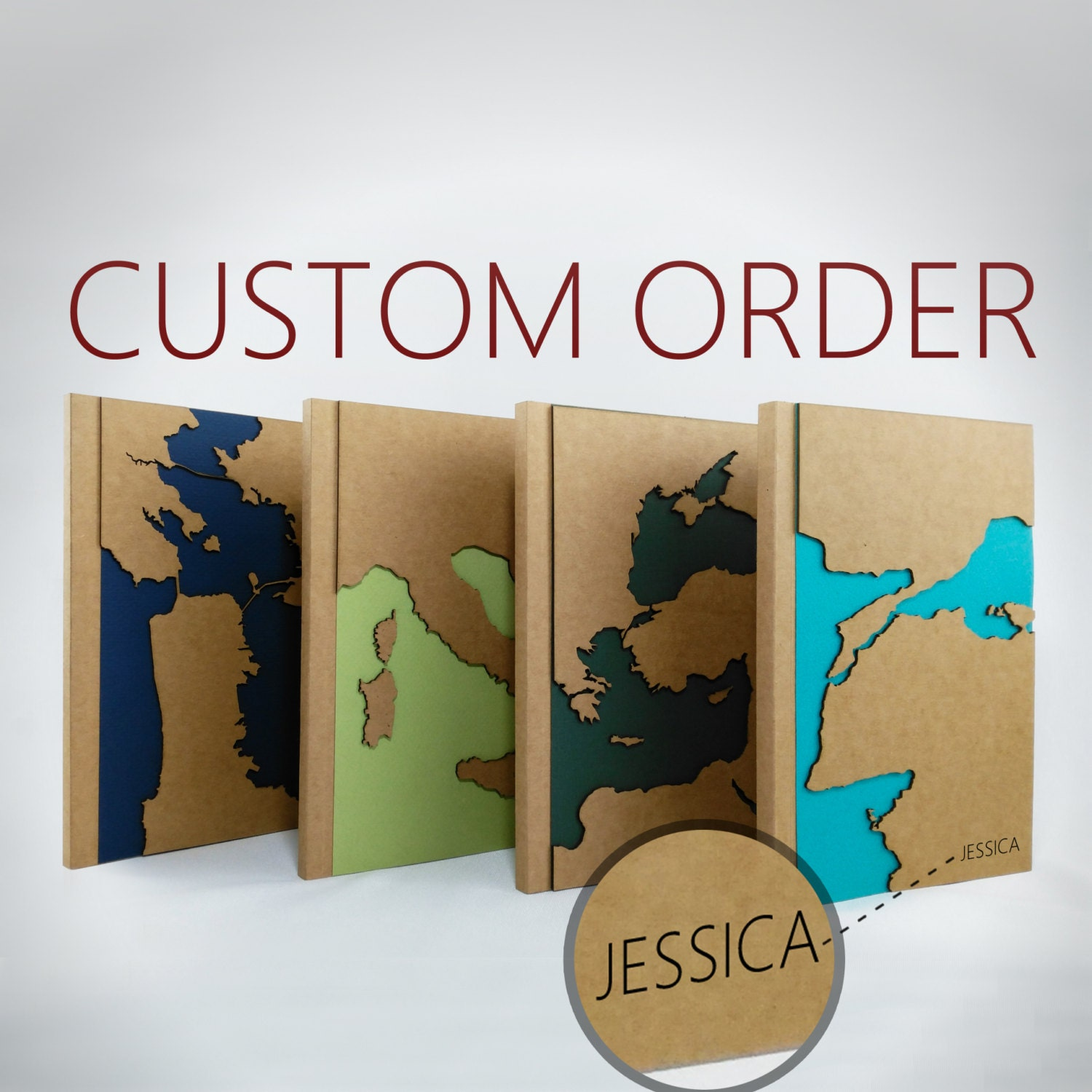 CUSTOM Map Travel Notebook Personalized Gift Maps Unique - Blank map of the us travel log
