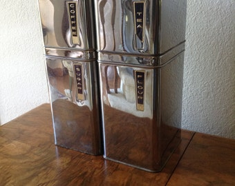Vintage Lincoln Beautyware Chrome Canisters, Coffee Tea Flour and Sugar Set of 4