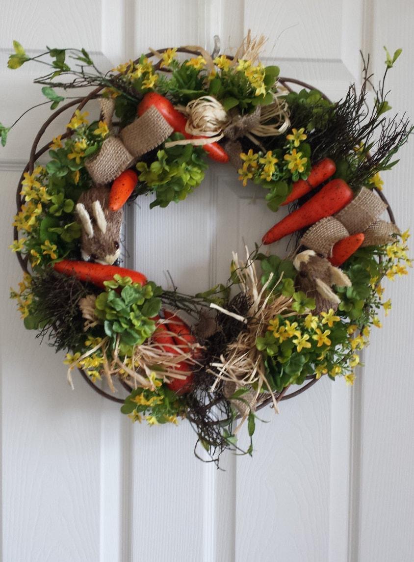 Bunny Garden Wreath Rustic Front Door Wreath Spring Wreath