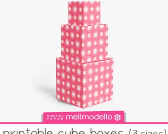 """Printable cube shape boxes """"Lucienne"""" coral , 3 sizes, Print at will, downloadable, DIY,"""