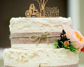 Rustic Wedding Cake Topper Bride Groom Cake Topper