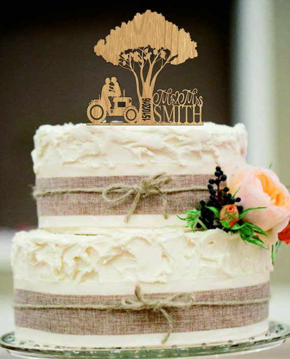 Bride And Groom On Tractor Cake Topper