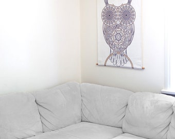 Owl Tapestry, Tribal Style Wall Hanging, Detailed Owl Artwork, Owl Decor Wall Decor Tapestry Wall Hanging on Cannabis Fabric, Art | MWH009 ॐ