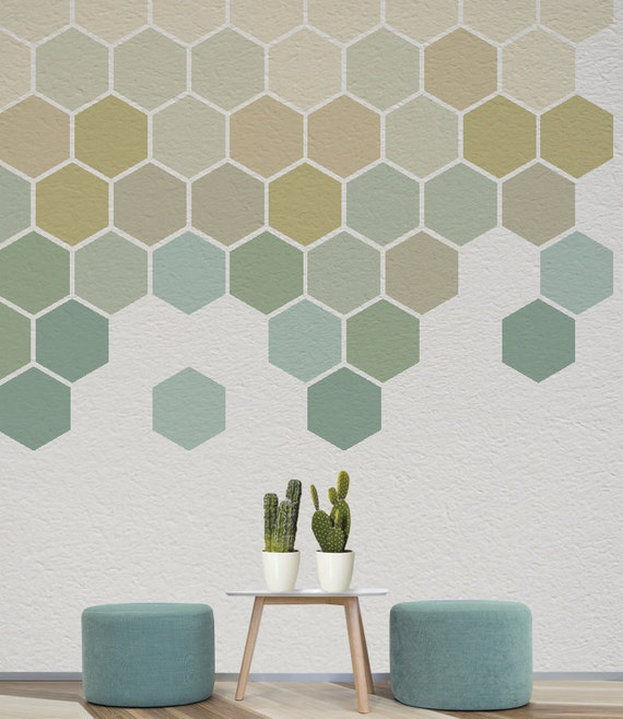 Ombre Honeycomb Wall Decal Removable Geometric Stickers Home