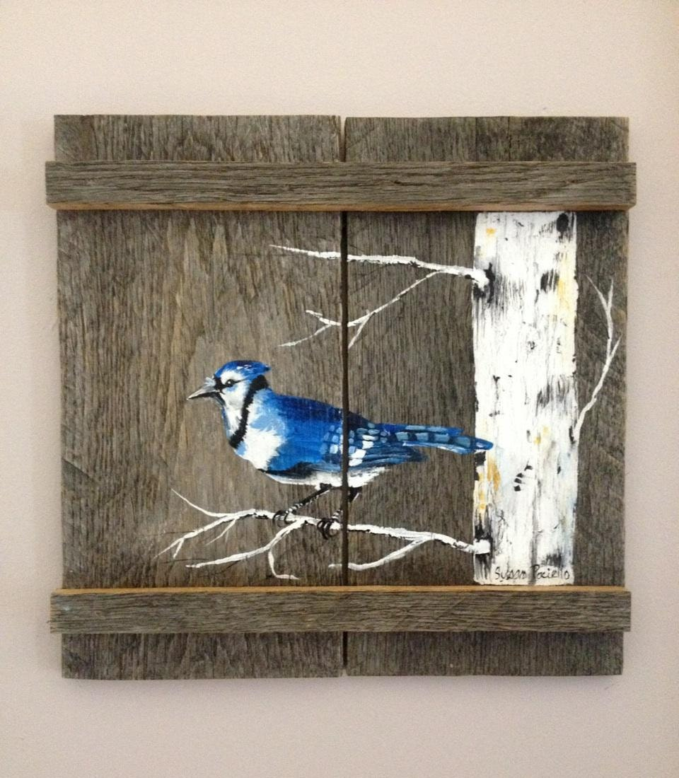 Pallet painting distressed wood art pallet art by palletpalz for Mural art on wood