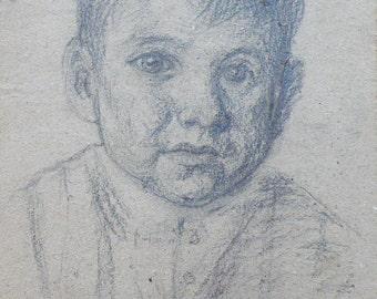 VINTAGE PORTRAIT Original Charcoal Drawing by V. Sandyuk, 1990s, One of a Kind, Not a Print, Handmade Signed Artwork, Portrait of a boy