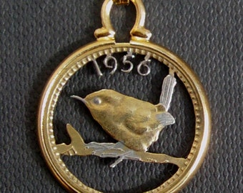 Wren Bird Cut Coin Robin Farthing Pendant Necklace Gold and Silver Plated Choice of Date 1937-1956 Birthday/Anniversary Year