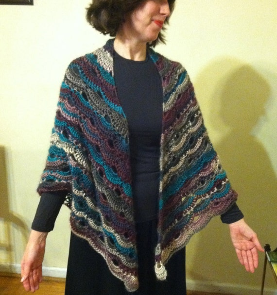 Crochet Pattern For The Virus Shawl : Stunning Handmade Crochet Virus Shawl Long Length Bridal